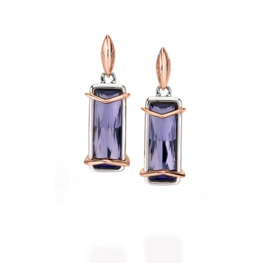 Fiorelli Silver Silver Purple Swarovski Crystal Earrings With Rose Gold Plate Detail