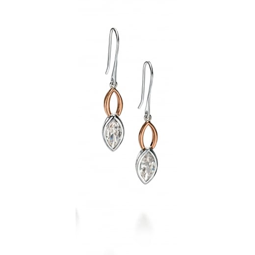 Fiorelli Silver Silver rose gold and clear CZ drop earrings