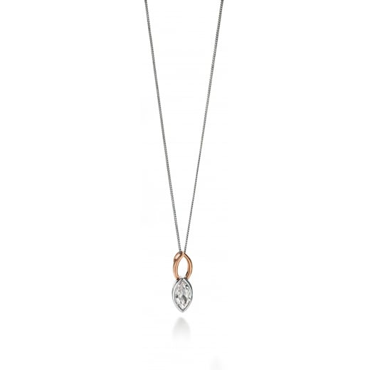 Fiorelli Silver Silver rose gold and clear CZ marquise pendant 41-46cm 16-18""