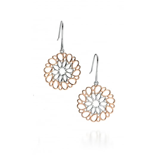 Fiorelli Silver Silver rose gold and rhodium cut out pattern earrings