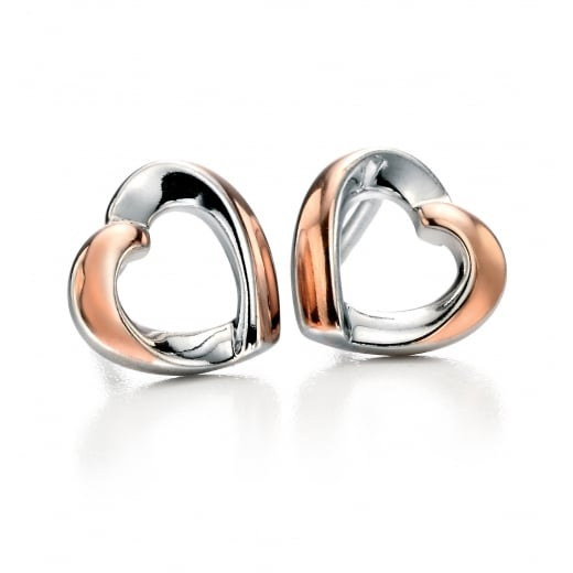 Fiorelli Silver Silver rose gold detail ribbon heart stud