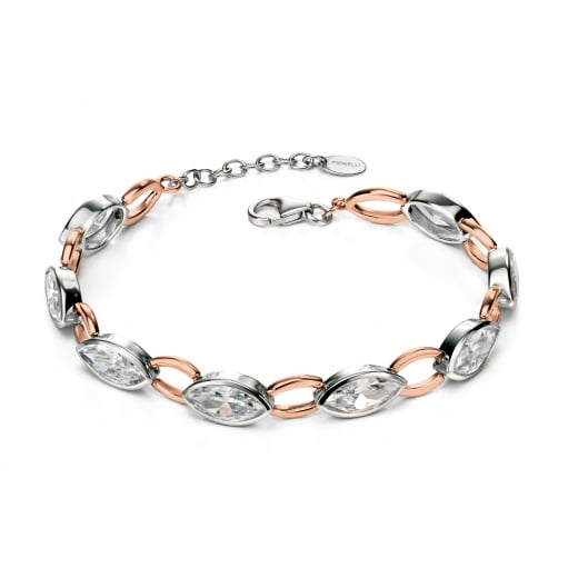 Fiorelli Silver Silver rose gold plate and CZ marquise bracelet