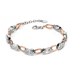 Silver rose gold plate and CZ marquise bracelet