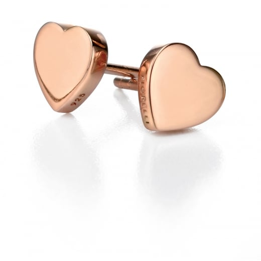 Fiorelli Silver Silver rose gold plated heart stud earrings