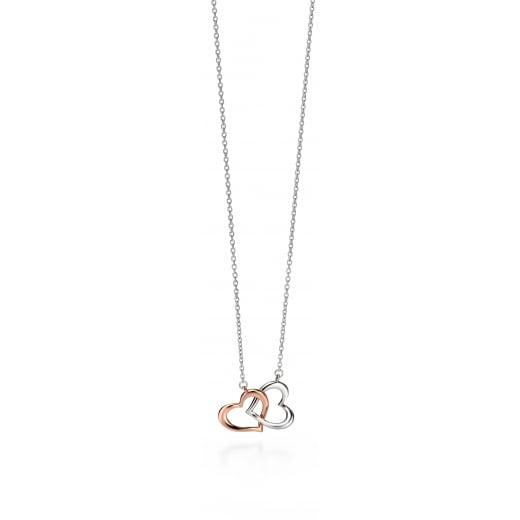 Fiorelli Silver Silver rose gold & silver heart necklace 41+5cm