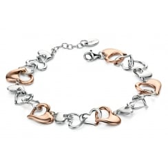Silver rose gold & silver multi heart bracelet