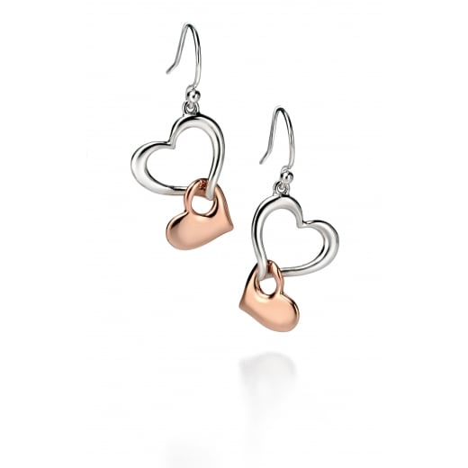 Fiorelli Silver Silver rose gold & silver multi heart earrings