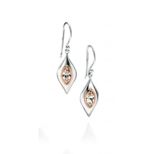 Fiorelli Silver Silver shaped clear Swarovski earrings with rose gold highlights