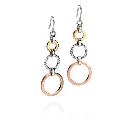 Fiorelli Silver Silver triple open disc long earrings rose white rhodium and gold plating