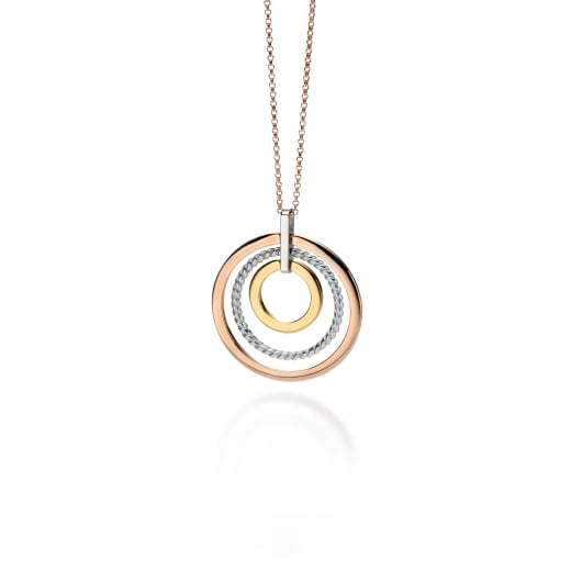 Fiorelli Silver Silver triple open disc pendant rose, white, rhodium and gold plating 76cm