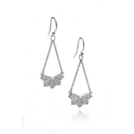 Fiorelli Silver Silver wing pattern cz pave earrings
