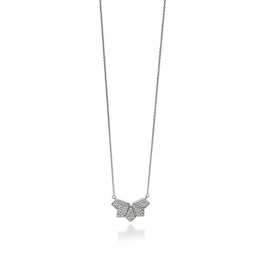 Fiorelli Silver Silver Wing Pattern Necklace 41-46cm