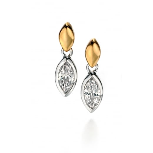 Fiorelli Silver Silver with gold plate clear CZ marquise earrings