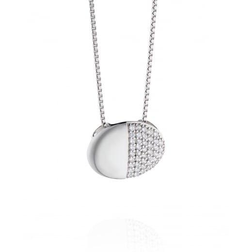 Fiorelli Silver Sterling Silver Organic Oval Pave CZ Necklace