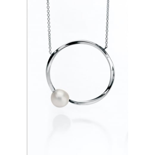 Fiorelli Silver Twisted Square Silver Hoop Necklace With Freshwater Pearl