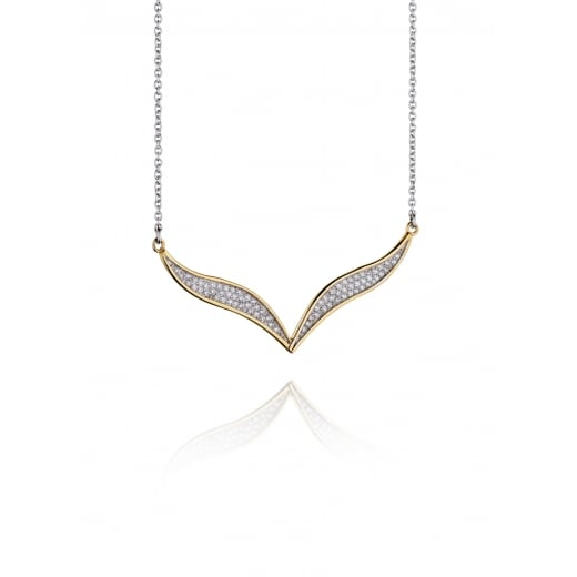 Fiorelli Silver V Shape Yellow Gold Plate Pave Cubic Zirconia Necklace