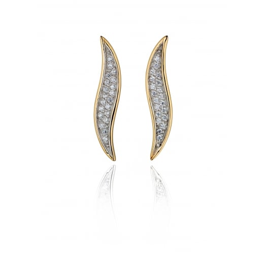 Fiorelli Silver Yellow Gold Plate Pave Cubic Zirconia Wavy Climber Stud Earrings