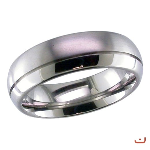 GETi Dome profile Titanium ring with off- centre groove.