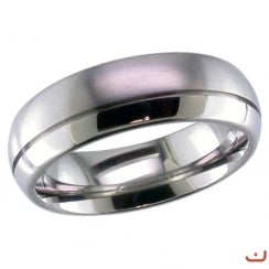 Dome profile Titanium ring with off- centre groove.