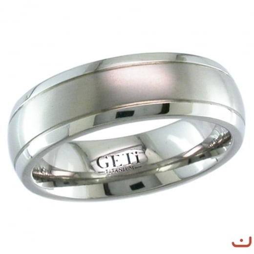 GETi Dome Titanium Ring With 2 Fine Grooves - Satin Brush Finish.