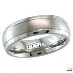 Dome Titanium Ring With 2 Fine Grooves - Satin Brush Finish.
