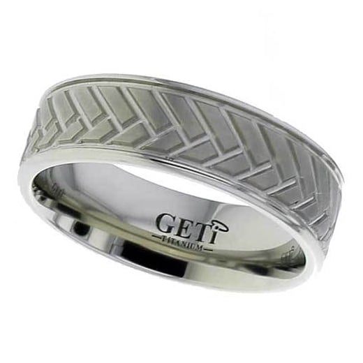 GETi Flat profile Titanium ring with herringbone style detail and rounded edges.