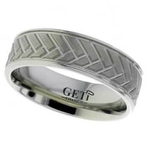 Flat profile Titanium ring with herringbone style detail and rounded edges.