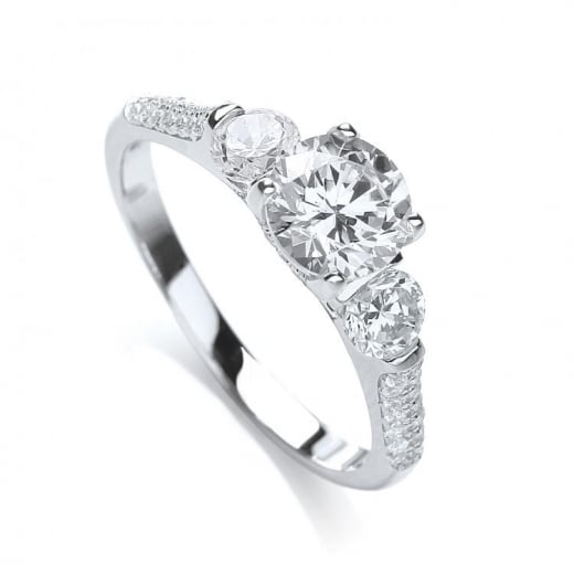 J-Jaz High Setting Trilogy Ring With CZ