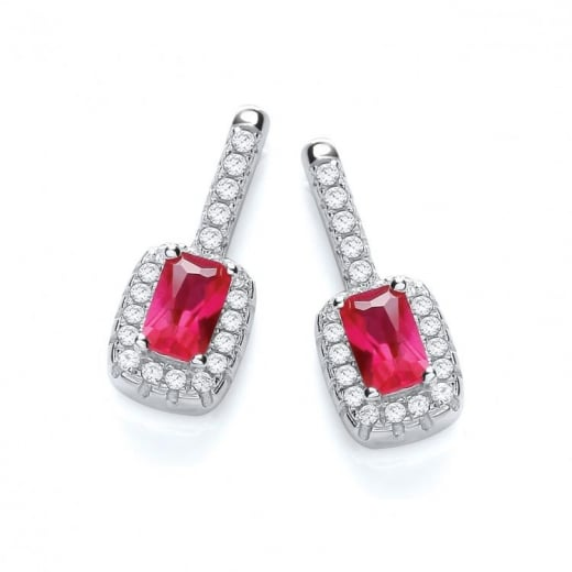 J-Jaz Micro Pave CZ Fancy Drop Silver Earrings With Red Cubic Zirconia