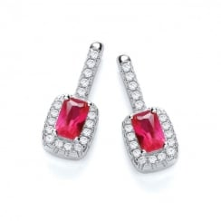 Micro Pave CZ Fancy Drop Silver Earrings With Red Cubic Zirconia