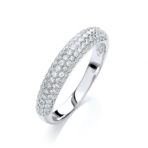 J-Jaz Micro Pave Dome Ring With CZ