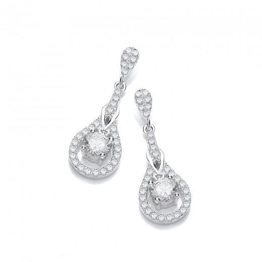 J-Jaz Micro Pave Tear Drop CZ Earrings