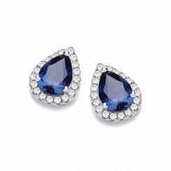 Tear Drop Sapphire Blue CZ Stud Earrings