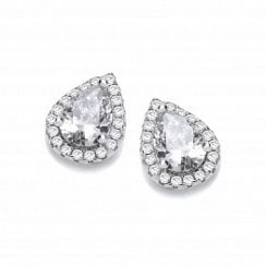 Teardrop Clear CZ Stud Earrings