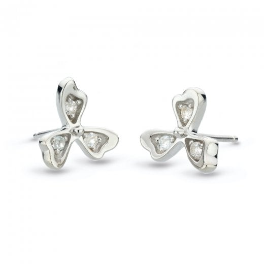 Kit Heath Blossom Petal Bloom White Topaz Stud