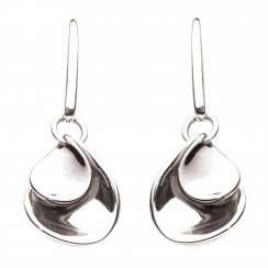 Double Petal Earrings In Sterling Silver