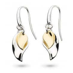Enchanted Double Leaf Gold Plate Drop Earrings