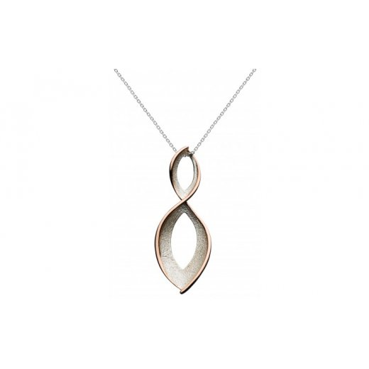 Kit Heath Lavish Rose Gold Stardust Twist Necklace Sterling Silver