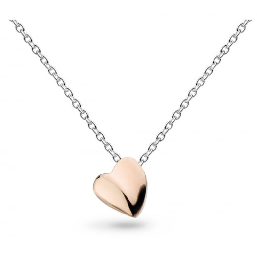 "Kit Heath MINIATURE SWEET HEART ROSE GOLD PLATE 17"" NECKLACE"