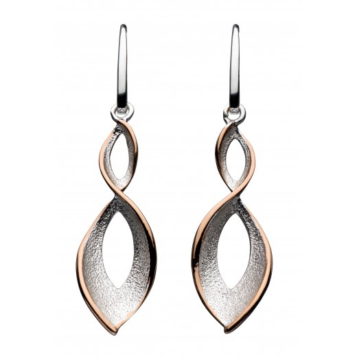 Kit Heath Rose Gold Stardust Twist Earrings In Sterling Silver