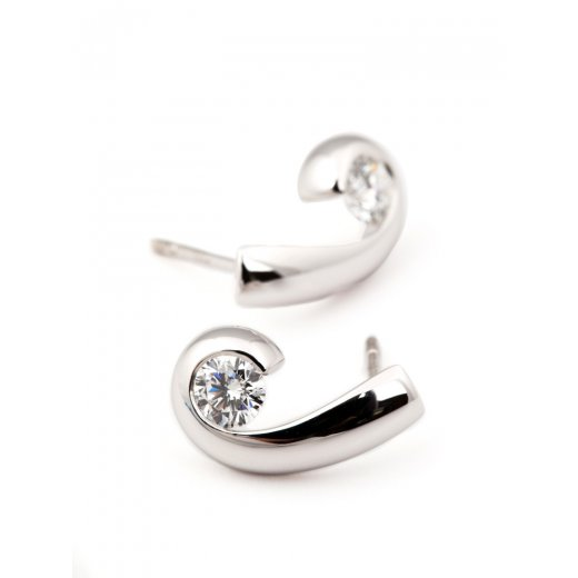 Paul Spurgeon 18ct White Gold Diamond Set Wave Earrings .50ct G VS1