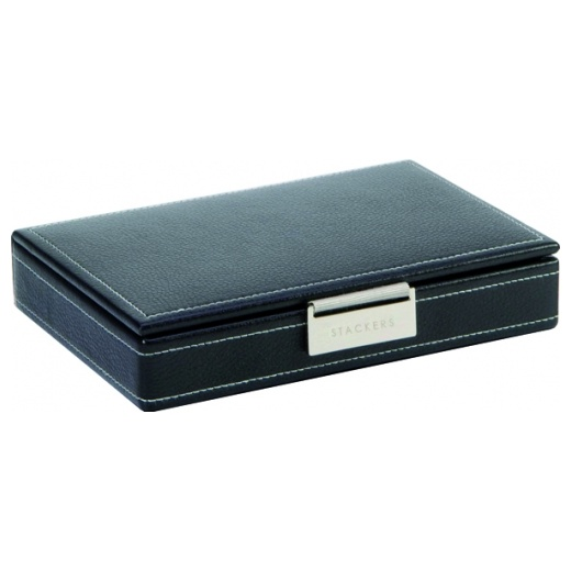 Stackers Black Leather Cufflink Box With White Stitching