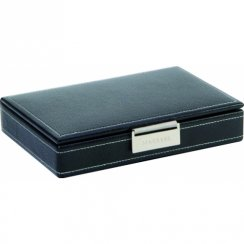 Black Leather Cufflink Box With White Stitching